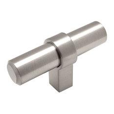 "Cosmas 181SN Satin Nickel Bar Cabinet Pull T-Knob, 2"" Overall Length, Set of 5"