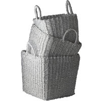 Dimond Home Nested Recycled Twisted Silver Foil Baskets, 3-Piece Set