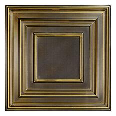"""Schoolhouse, Faux Tin Ceiling Tile, Antique Brass, 24""""x24"""""""