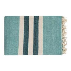 Surya - Surya Troy Cotton Throw Blanket, Aqua - Throws