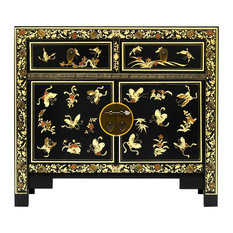 Oriental Sideboard With Cupboard and Drawers, Black/Gold