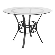 Carlisle 42'' Round Glass Dining Table Black Metal Frame