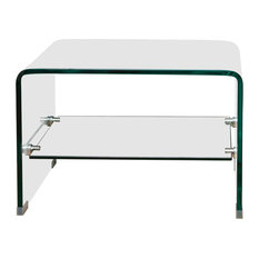GDFStudio   Classon Transparent Glass End Table With Shelf   Side Tables  And End Tables