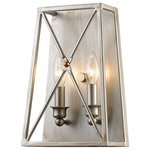 Z-Lite - Tressle 2 Light Wall Sconce in Antique Silver - Forged tressle patterns fashioned after the iron train bridges of another era and modernized with a dual Bronze and Gold finish or an antique silver finish define the Tressle collection. Oversized well proportioned and with many configurations Tressle is a bridge to great design.&nbsp