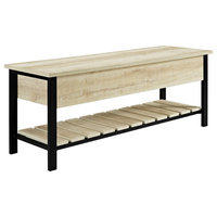 "48"" Open-Top Storage Bench With Shoe Shelf , White Oak"