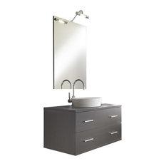 Giava 4-Piece Wall-Mounted Bathroom Vanity Unit, Grey Pine, 90 cm
