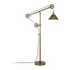 Floor Lamp, Pulley System With Bell Shaped Shade, Ajustable Height, Antique Bra