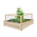 Greenes Original Cedar Raised Garden Bed With CritterGuard Fence System