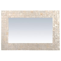 Campbell Off-White Natural Capiz Shell Wall Mirror, Rectangle