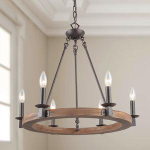 6-Light Wood Transitional Chandelier Lighting