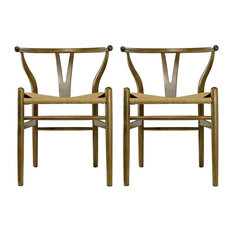 Modern Dining Chairs Wood Armchairs, Set of 2, Walnut