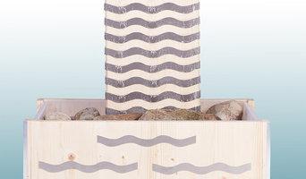 Exclusiver Indoor/Outddor Brunnen aus Holz und Edelstahl