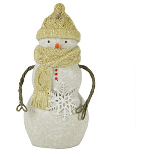 "4"" Decorative Bundled Up Snowman with Scarf  Hat & Snowflake Christmas Ornament"