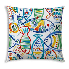 Schooling Fish Yellow Indoor/Outdoor Pillow, Sewn Closure