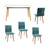 Nagane Dining Table And Fridi Chairs, Light Petrol Fabric, 4 Chairs