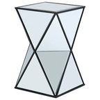 Angular Mirror Accent Table, Silver