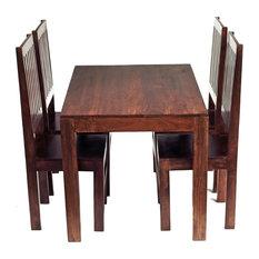 Santiago Dark Mango Wood 5-Piece Dining Set, Wooden Chairs