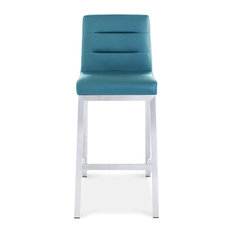 Lynx Counter Height Contemporary Stool With Metal Base, Teal