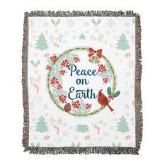 Peace on Earth Pattern Woven Blanket, 50x60