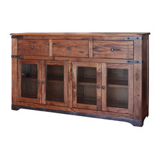 """Burleson Home Furnishings - Rustic Jacob 70"""" Console TV Stand Buffet Real Solid Wood Western-Style - Entertainment Centers and Tv Stands"""