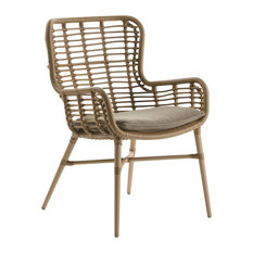 Curved Rattan Dining Chair With Arms, Brown