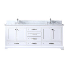 "80"" Double Vanity, White, White Carrera Marble Top, Square Sinks, No Mirror"