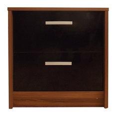 Khabat 2-Drawer Bedside Table, Black and Walnut