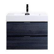 "Lux 30"" Gray Oak Single Sink Wall Mount Elegant Modern Bathroom Vanity"