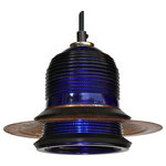 "Runway Light Collection by Railroadware - Runway Light Pendant LED Rusted Hood 7"", 120V/6W/500 Lumen, Blue - Cobalt Blue W 7"" Hood - Industrial LED pendant made from a Fresnel lenses dome providing a distinctive visual decor to your kitchen, office or restaurant. Achieve a rustic industrial or a modern look that people will notice and appreciate the optical performance & origin."