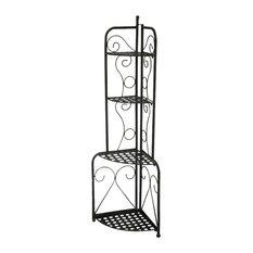 Iron Storage Folding Iron Patio Corner Shelf - Antique Black