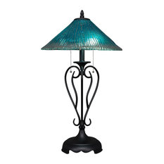 "Olde Iron Table Lamp In Matte Black, 16"" Teal Crystal Glass"