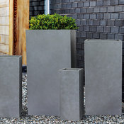 "Modern Square Concrete Outdoor/Indoor Planter, 9""x20"""