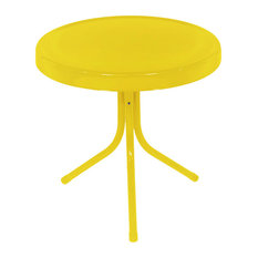 """LB International - Sunshine Retro Metal Tulip Outdoor Side Table, Yellow, 20"""" - Outdoor Side Tables"""