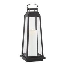 Edgewater Outdoor LED Floor Lantern, Black, Clear
