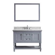 "Virtu Julianna 48"" Single Bathroom Vanity, Gray With Marble Top, With Mirror"