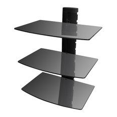 VidaXL 3-Tier Wall Mounted Glass DVD Shelf, Black