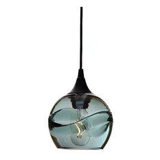 Swell Pendant No. 763, Gray Glass Shade, Black Hardware, 8 Watt