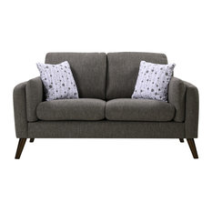 Winston Linen Loveseat Couch With USB Charger and Tablet Pocket, Gray