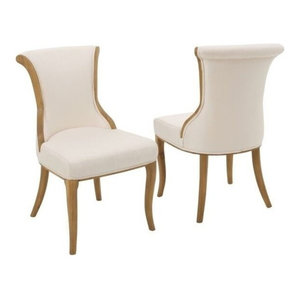 GDF Studio Luther French-Style Dining Chair, Beige, Set of 2