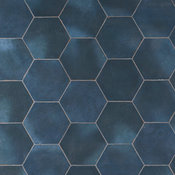 "Alexandria 5.5""x6"" Porcelain Floor and Wall Tile, Denim Blue"