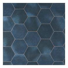 "Alexandria 5.5""x6"" Porcelain Floor and Wall Tile, Denim Blue"