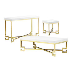 Sophia Living Room Set, White Lacquer and Gold