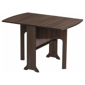 Modern Stylish Drop Leaf Table, Walnut Wood, Heatproof Tabletop Design