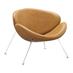 Nutshell Faux Leather Lounge Chair, Tan