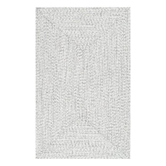"""Braided Casual Solid Rug, Ivory, 2'6""""x8'"""