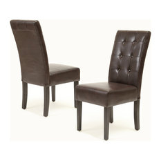 GDFStudio - Addison Brown Leather Dining Chairs, Set of 2 - Dining Chairs