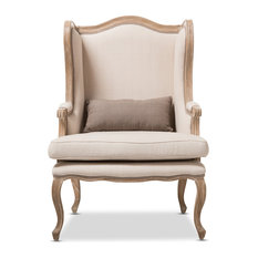 Baxton Studio - Auvergne Wood Traditional French Accent Chair - Armchairs and Accent Chairs