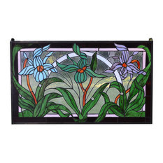 "34.5""L x 20.5""H Handcrafted stained glass window panel Iris Flowers"
