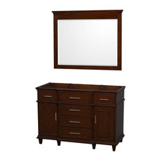 "Wyndham Collection - Berkeley 48"" Vanity Vanity Base Only, Dark Chestnut, 44"" Mirror - Bathroom Vanities and Sink Consoles"