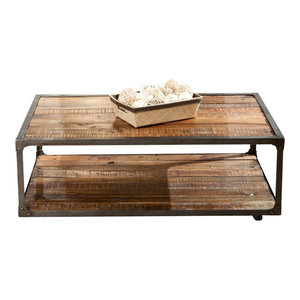 Laramie Rectangle Cocktail Table With Castors